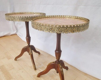 Pair of Antique Style French Mahogany Marble Top Side Tables by Epstein