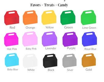 Solid Color 6 ct treat box - gable box - candy  box - favor box
