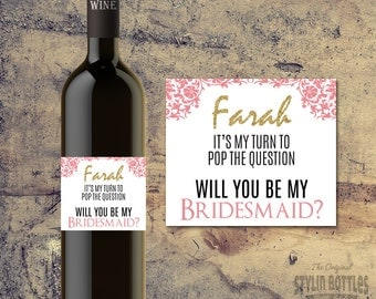Will You Be My bridesmaid Wine Labels, Bridesmaid Gift, Thank You Bridesmaid Labels, Bridesmaid Wine Labels