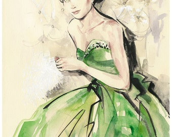 Grace Kelly fashion painting