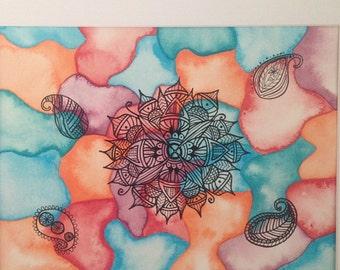 Mandala original watercolor painting