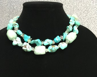 Genuine Turquoise & Sterling Silver Necklace - Gemstones, December Birthstone, Boho Necklace, Natural Turquoise