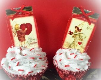 Vintage Mason Jar Themed Valentine Cupcake Set