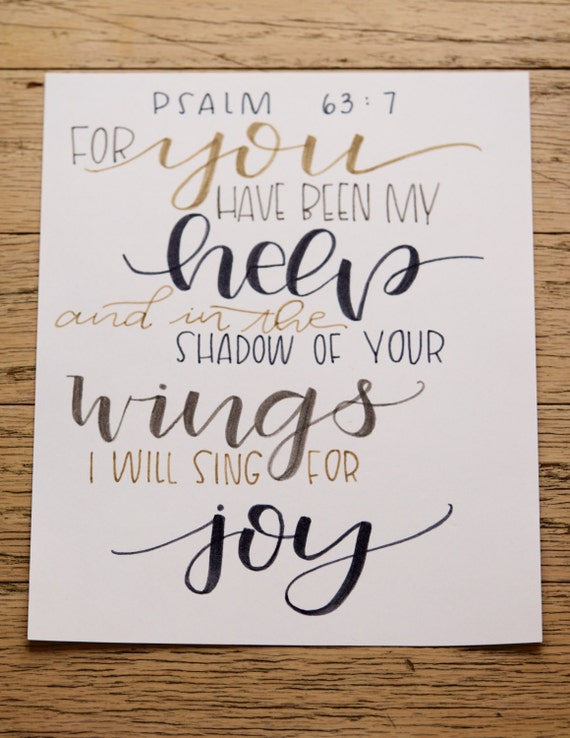 Scripture hand lettered print psalm modern calligraphy