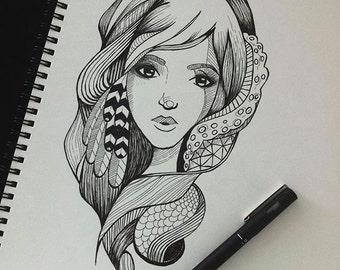 Feather Girl Art Print