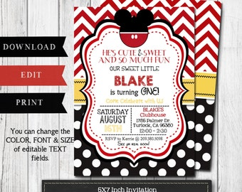 Mickey Mouse Birthday Invitation - Modern Mickey Mouse Invitation - Instant Download/Edit w Adobe Reader - Editable Invitation -