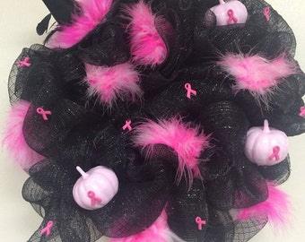 Halloween/Breast Cancer Pink Ribbon Wreath