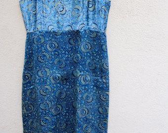 Dreamy blue mushru silk dress knee length dress