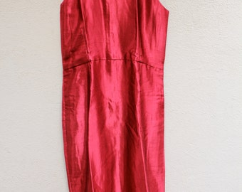 Red mushru silk shift dress