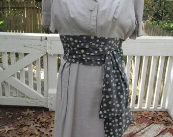 40's 1940's Dress Rayon Obi Sash Pencil Skirt Minx Modes Petite Small