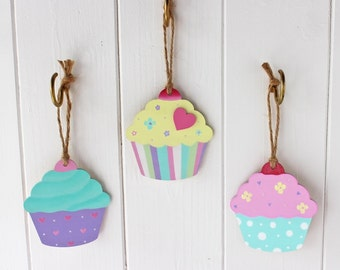 Sweet Hand Painted Trio of Cute Wooden Cupcakes