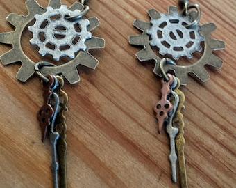 Steampunk Multi Metal Dangle Earrings, Steampunk Clock Hand & Gear Dangle Earrings, Steampunk Earrings, Steampunk Dangles, Steampunk Jewelry