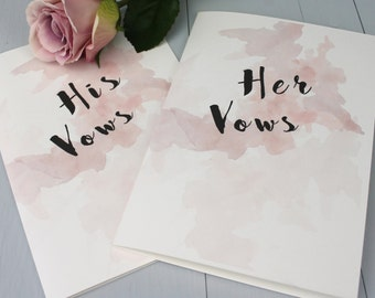 Wedding Vow Books, Bride And Groom Wedding Vows, Watercolour Wedding Vow Book, Personalised Wedding Vow Booklet