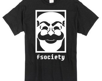 fsociety Logo T-Shirt black or white Mr Robot hacker anonymous 100% cotton