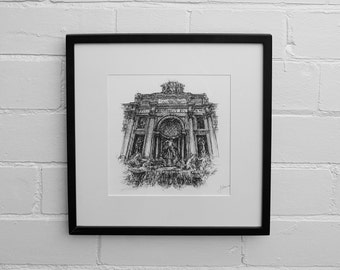 Trevi Fountain, Rome Print, Rome Wall Art, Rome Poster, Drawing Print, Rome Skyline, Rome Art, Rome Drawing, Italy Gift, Rome Artwork