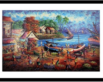 The Port of Fruits and Vegetables: Streatched Canvas Giclee of Traditional Oil on Canvas Balinese Painting; Ready to Hang!
