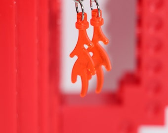 Orange Lego Flame Dangle Earrings