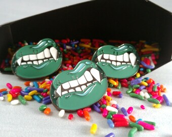 "Die By Day -  30mm (Approx 1.18"") Soft Enamel Vampire Fangs Halloween Pin"