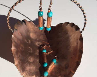 Colorful Etched Copper Earrings