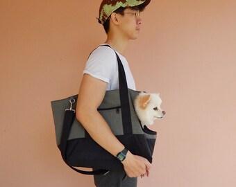 Pet bag, Grey/Black Water-Resistant bag, tote, messenger bag, shoulder bag, dog carrier, cat carrier - AKIRA