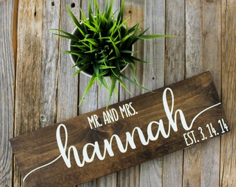 Custom Mr and Mrs Sign| Custom Name Sign| Wedding Gift| Housewarming Gift| Painted Wood Sign| Custom Wood Sign| Rustic Home Decor