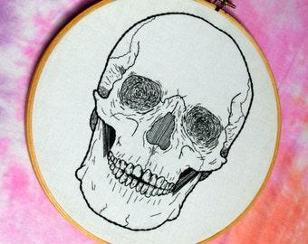 Skull hand embroidery hoop art. 8 inch hoop.