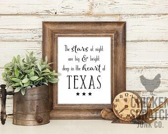Deep in the Heart of Texas   print   typography   wall art   black white   home print   Texas print   Texas song print   Texas song lyrics