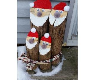 Christmas Decorations - 4-Log Santa Family - Rustic Holiday Decor - Santa Log - Logs Santa Log Family Wood