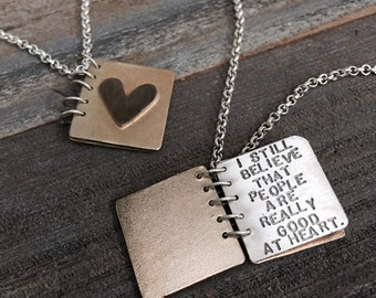 Anne Frank Sterling Silver Book Necklace - Vintage Kathy Bransfield 1991