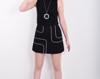 60s Style Mini Skirt A Line with Piping Detail available in Black or Blue - Mod Space Age Psych Vintage Reproduction