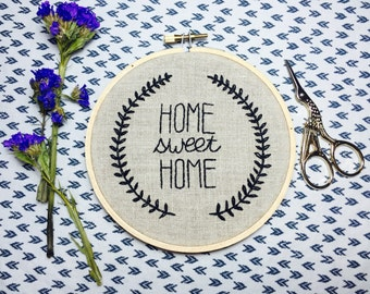 Home Sweet Home hand embroidery quote hoop art. Wall art. Home decor.