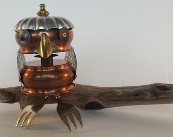 Owl - Found object Bird Robot assemblage - Junk bot - Repurposed Art Sculpture - Steampunk Sculpture