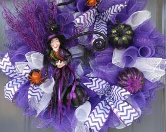 Halloween Wreath, Halloween, Purple wreath, wreaths, Pumpkins, Witches wreath