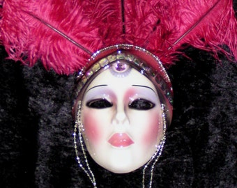 SIGNED Clay Art Mask - Vegas Showgirl - Extremely Rare