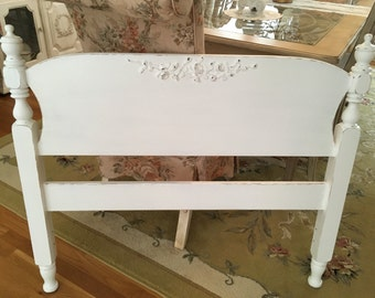 shabby chic headboard twin white lightly distressed