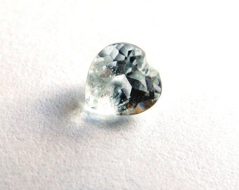 4mm Palest Blue Nearly White Topaz Heart Shaped Loose Gemstone of  .28 Carats