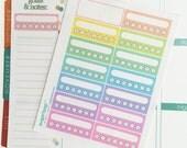Weekly habit tracker planner stickers, rainbow, vertical layout, checklist, Erin Condren, ECLP