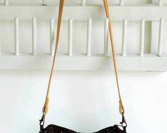 Black linen clutch , embroidered, with crossbody leather strap