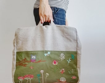 Hand embroidered linen backpack, natural and green - forest - Lullaby Collection- OOAK