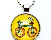 Yellow Necklace Bird Necklace Bicycle Necklace Yellow Pendant Bird Pendant Bicycle Pendant Necklace Pendant