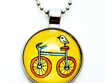 summer necklace BIKE NECKLACE - cute jewelry for little girls, yellow necklace bicycle girl necklace, glass pendant necklace summer outdoors