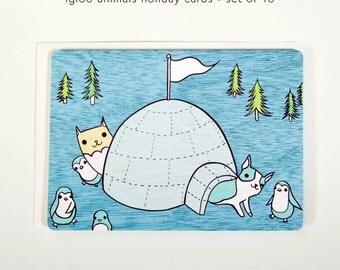 Cat Christmas Cards Cat Christmas Card Set Animal Christmas Cards Cute Christmas Cards