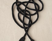 Knitted Power Cord - Black - Nerd Necklace - Geek Toy - Knit Art - Geekery - Extension Cord
