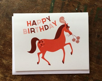 Fancy Horse Birthday Card