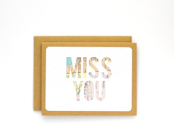 Miss You Card, Missing You, Goodbye Card, Long Distance Card, Long Distance Relationship, Moving Away Card for Best Friend