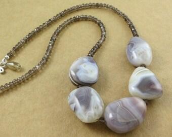 Smokey Quartz And Agate Necklace