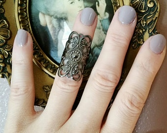 Knuckle Ring -Midi Ring- Gothic Filigree Black Metallic Finish was 12.00 SALE 50% OFF