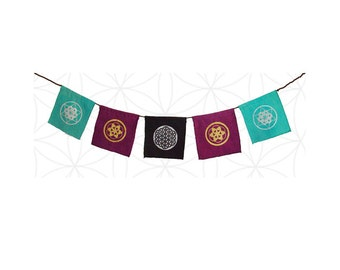 Sacred Geometry Flags - hand printed on hand dyed organic cotton and hemp fabrics you choose three colors