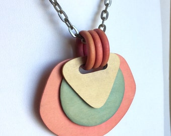 Vintage Pink and Blue Shapes Necklace - Large Pendant of Lightweight Wood Circles and Triangles and Big Pink Rings - Bright Silver Chain