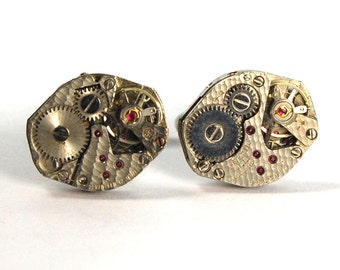 Hammered Texture Steampunk Clockwork Cufflinks with Real Ruby Jewels Ovals by Nouveau Motley